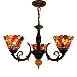 シャンデリア ステンドグラスランプ リビング照明 ダイニング照明 彩色 3灯 OFP3006