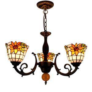 シャンデリア ステンドグラスランプ リビング照明 ダイニング照明 ヒマワリ柄 3灯 OFP3013