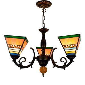 シャンデリア ステンドグラスランプ リビング照明 ダイニング照明 タワー型 3灯 OFP3002