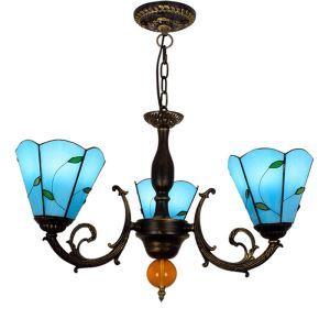シャンデリア ステンドグラスランプ リビング照明 ダイニング照明 青葉柄 3灯 OFP3004