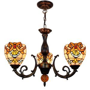シャンデリア ステンドグラスランプ 寝室照明 ダイニング照明 バロック柄 3灯 OFP3019