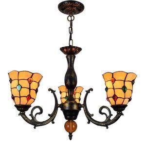 シャンデリア ステンドグラスランプ ダイニング照明 寝室照明 3灯 OFP3020