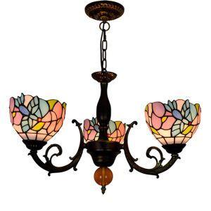 シャンデリア ステンドグラスランプ リビング照明 ダイニング照明 蘭柄 3灯 OFP3023