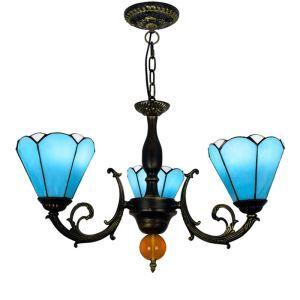 シャンデリア ステンドグラスランプ ダイニング照明 リビング照明 青色 3灯 OFP3003