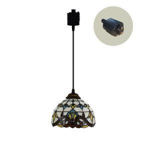 ペンダントライト ステンドグラスランプ ダイニング照明 店舗照明 ダクトレール用 簡単取付 D20cm 1灯 OFP6031