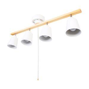 スポットライト シーリングライト リビング照明 ダイニング照明 ブルスイッチ式 角度調節可 簡単設置 白色 4連4灯
