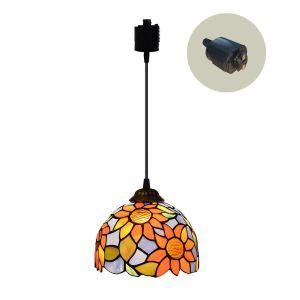ペンダントライト ステンドグラスランプ ダイニング照明 店舗照明 ダクトレール用 簡単取付 D20cm 1灯 OFP6028