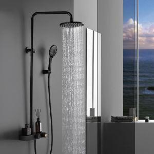 浴室シャワー水栓 シャワーシステム シャワーヘッド+ハンドシャワー 小物収納付 3色