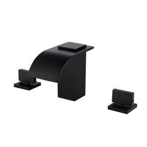 バス水栓 洗面蛇口 冷熱混合栓 滝状吐水口 2ハンドル 黒色 3点