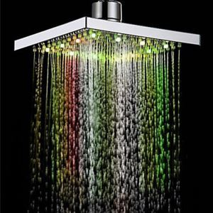7色LEDヘッドシャワー レインシャワー水栓 クロム