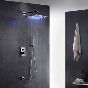 LED埋込形シャワー水栓 レインシャワーシステム バス水栓 ヘッドシャワー+ハンドシャワー+蛇口 クロム