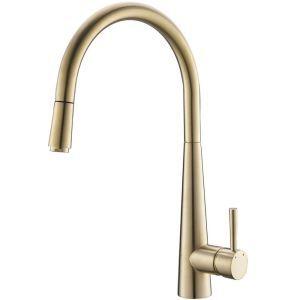 キッチン水栓 台所蛇口 引出し式水栓 冷熱混合栓 回転可 ヘアラインゴールド