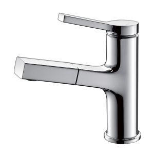 洗面蛇口 スプレー混合栓 洗髪用水栓 ホース引出式 水道蛇口 立水栓 方形
