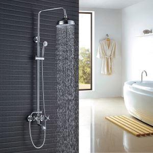 浴室シャワー水栓 シャワーシステム バス混合栓 ヘッドシャワー+ハンドシャワー+蛇口 クロム YMS021
