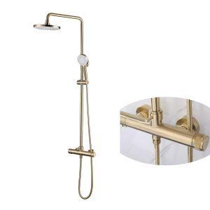 浴室シャワー水栓 レインシャワーシステム バス蛇口 ヘッドシャワー+ハンドシャワー プレススイッチ 回転温度制御 2色