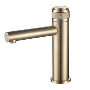 洗面水栓 バス蛇口 冷熱混合栓 水道蛇口 プレススイッチ 回転温度制御 3色 H190mm