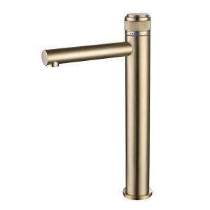 洗面蛇口 バス水栓 冷熱混合栓 水道蛇口 プレススイッチ 回転温度制御 2色 H320mm