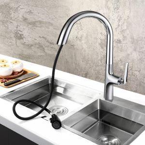 キッチン蛇口 台所蛇口 引出し式水栓 冷熱混合水栓 水道蛇口 整流&シャワー吐水式 3色