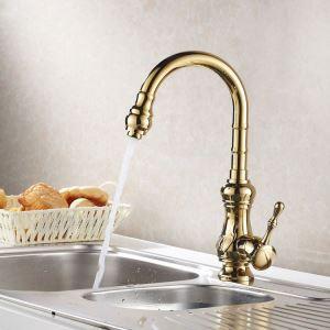 キッチン水栓 台所蛇口 冷熱混合栓 水道蛇口 シンク蛇口 金色 Ti-PVD