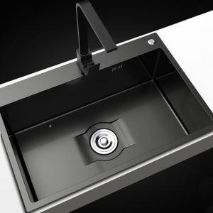 キッチンシンク 台所流し台 オーバーシンク アンダーシンク 黒色 ナノ技術 手作り 厚さ D6045