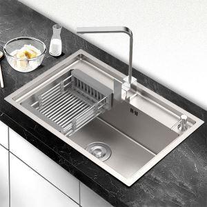 キッチンシンク 台所流し台 オーバーシンク アンダーシンク 銀色 ナノ技術 手作り 厚さ 60*45cm