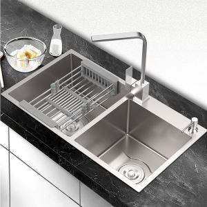 キッチンシンク 台所流し台 2槽 オーバーシンク アンダーシンク 手作り 厚さ D7843