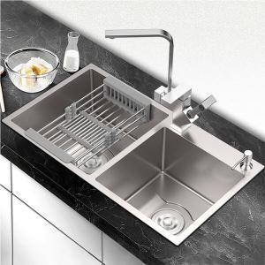 キッチンシンク 台所流し台 2槽 オーバーシンク アンダーシンク 手作り 厚さ D7541