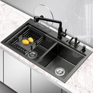 キッチンシンク 台所流し台 オーバーシンク アンダーシンク 2槽 黒色 ナノ技術 手作り 厚さ 78*46cm