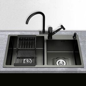 キッチンシンク 台所流し台 2槽 オーバーシンク アンダーシンク 黒色 ナノ技術 手作り 厚さ 8245
