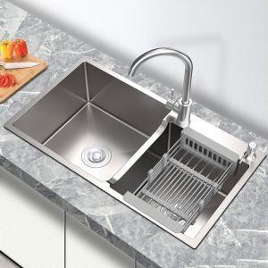 キッチンシンク 台所流し台 オーバーシンク アンダーシンク 2槽 凹型 銀色 ナノ技術 手作り 厚さ 75*41cm