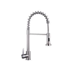 キッチン蛇口 台所水栓 冷熱混合栓 水道蛇口 整流&シャワー吐水式 ばね型 ステンレス鋼 ヘアライン