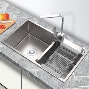 キッチンシンク 台所流し台 オーバーシンク アンダーシンク 2槽 凹型 銀色 ナノ技術 手作り 厚さ 78*43cm