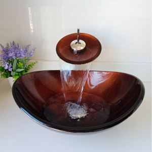 洗面ボウル&蛇口セット 手洗い鉢 洗面器 強化ガラス製 排水金具付 楕円型 LC6868WF
