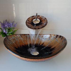 洗面ボウル&蛇口セット 手洗い鉢 洗面器 強化ガラス製 排水金具付 楕円型 LC6869WF