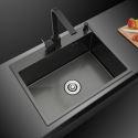 キッチンシンク 台所流し台 55*45cm 黒色 ナノ技術 手作り 厚さ オーバーシンク アンダーシンク
