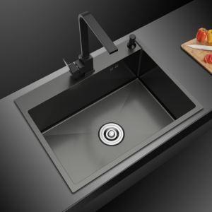 キッチンシンク 台所流し台 オーバーシンク アンダーシンク 黒色 ナノ技術 手作り 厚さ S5545