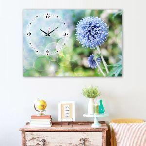 壁掛け時計 壁絵画時計 静音時計 キャンバス時計 1枚パネル タンポポ