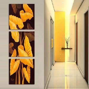 絵画 壁絵画時計 壁掛け時計 静音時計 アートパネル 壁飾り 葉 3pcs オシャレ