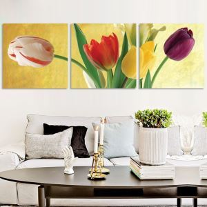 絵画 壁絵画時計 壁掛け時計 静音時計 アートパネル 壁飾り チューリップ 3pcs オシャレ
