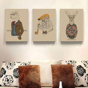 絵画 油彩画 アートパネル 装飾絵画 壁飾り 動物 プレゼント 3pcs オシャレ