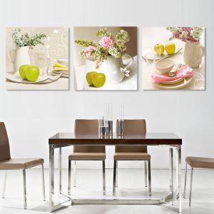 絵画 壁絵画時計 壁掛け時計 静音時計 アートパネル 壁飾り 食器 3pcs オシャレ