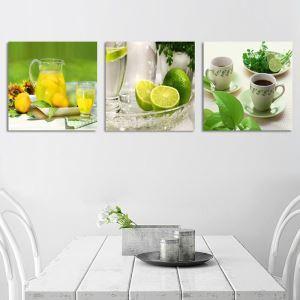絵画 壁絵画時計 壁掛け時計 静音時計 アートパネル 壁飾り 果物 3pcs オシャレ