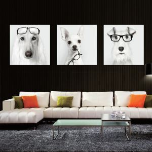絵画 油彩画 アートパネル 装飾絵画 壁飾り メガネ犬 プレゼント 3pcs オシャレ