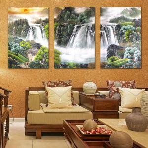 絵画 壁絵画時計 壁掛け時計 静音時計 アートパネル 壁飾り 滝 3pcs オシャレ