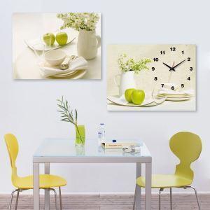 壁掛け時計 絵画時計 アート時計 静音 オシャレ 2枚パネル 食器