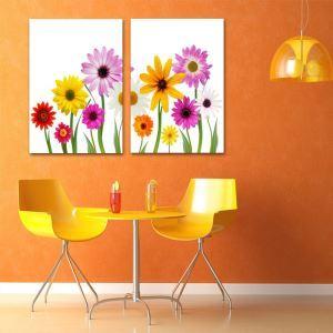 絵画 壁絵画時計 壁掛け時計 静音時計 アートパネル 壁飾り 花 2pcs オシャレ