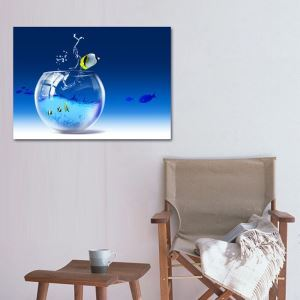 絵画 壁絵画時計 壁掛け時計 静音時計 アートパネル 壁飾り 金魚鉢 1pcs オシャレ