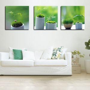 絵画 壁絵画時計 壁掛け時計 静音時計 アートパネル 壁飾り 盆栽 3pcs オシャレ