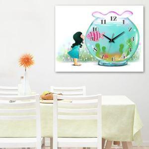 壁掛け時計 壁絵画時計 静音時計 キャンバス時計 壁飾り オシャレ 1枚パネル 金魚鉢