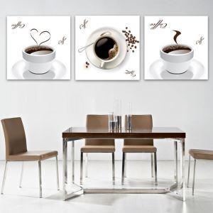 絵画 壁絵画時計 壁掛け時計 静音時計 アートパネル 壁飾り コーヒーカップ 3pcs オシャレ